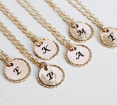 6 Personalized Eternity Necklaces, Set of 6, Simple Bridesmaid Jewelry, Gold Bridesmaid Necklaces