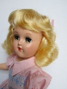 SUCH-A-BEAUTY-1950s-IDEAL-TONI-DOLL-ORIG-DRESS-PINK-LEATHER-SHOES