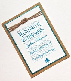 Bachelorette Weekend Invitations in Rustic Brown and Turquoise