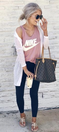 Women's Pants - - pink Nike tank top black pants and white cardigan. Mode Outfits, Casual Outfits, Fashion Outfits, Womens Fashion, Women's Casual, Flannel Outfits, Girl Outfits, White Outfits, Casual Fall