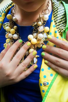 :: Yellow and Green nails ::