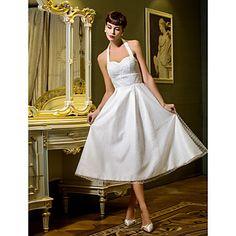 une ligne-princesse bretelles thé longueur robe de mariée en tulle (710780) – EUR € 72.26