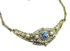 Vintage Necklace ICE Blue Rhinestone in Silver Tube chain Art