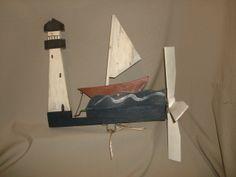 Vintage Folk Art Painted Wooden Sailboat & Lighthouse WHIRLIGIG