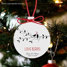 Engagement Ornament Couples First Christmas Newly Engaged Gift Love Birds Ornament For Couples Personalized Christmas Ornament Mra