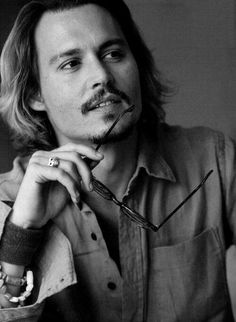 Johnny Depp, male actor, fingers hands, beard, long hair style, glasses, sexy guy, steaming hot, eye candy, portrait, photo b/w.