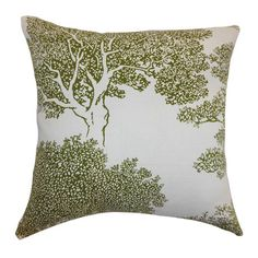 Add a chic touch of style to your sofa, chaise, or bed with this lovely pillow, featuring a down and cotton fill and tree motif.     Prod...