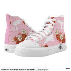 Japanese Art: Pink Sakuras & Rabbits Printed Shoes