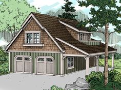 Carriage House Plans | Craftsman-Style Carriage House Plan with 2-Car Garage Design # 051G-0020 at TheHousePlanShop.com