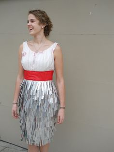 Recycled dress ... made from aluminum cans, plastic bags and pleather. Awesome.