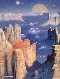 It was basically a standard futuristic cityscape, on anoth. Futuristic City, Futuristic Architecture, Fantasy Kunst, Sci Fi Fantasy, Sci Fi Stadt, Sci Fi Kunst, Science Fiction Kunst, Space Opera, Arte Sci Fi
