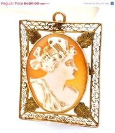 Spring Sale Victorian 10K Gold Shell Cameo Brooch Pendant Filigree
