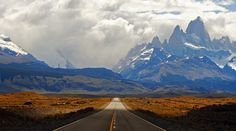 Ruta Argentina: view of Mt. Fitz Roy on the road into Chaltén, Patagonia, Argentina Beautiful Roads, Beautiful Landscapes, Beautiful Places, Oh The Places You'll Go, Places To Travel, Places To Visit, Travel Destinations, On The Road Again, Argentina Travel