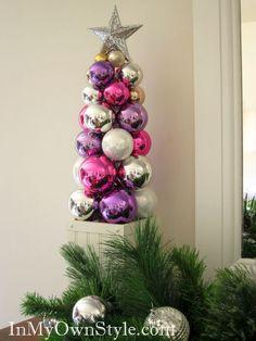 Künstlicher Weihnachtsbaum basteln mit weihnachtskugeln - Bildanleitung - tutorial