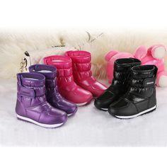 e8f779819 Los Niños de invierno Botas de Nieve Caliente Impermeable Niñas Niños  Antideslizante Zapatos Zapatillas Niños Hook   Loop Zapatos de martin Botas  de Moda