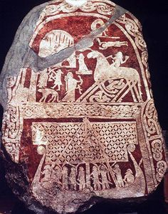 A runestone from Sweden, depicting a longship and Odin riding his eight-legged horse, Sleipnir .