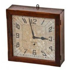 original c. 1930's art deco style new haven mahogany wood wind up wall clock with original key. #vintageclock #antiqueclock