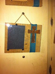 Barnwood, ribbon, rusty tin cross, jute hanger.