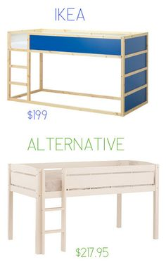 Oh snap.  IKEA alternatives that are often cheaper.  Love that loft bed and the bins.  And the table.  And the rug.