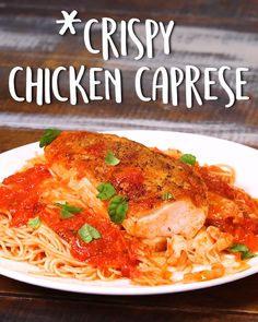 Crispy Chicken Caprese Super juicy chicken, ridiculously crispy skin, and on the table in a snap 🙌 Pollo Caprese, Caprese Chicken, Pasta Recipes, Chicken Recipes, Dinner Recipes, Cooking Recipes, Italian Dishes, Italian Recipes, Cooking Whole Chicken