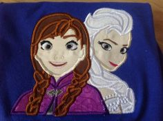 Frozen sisters Elsa and Anna embroidered shirt