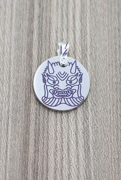 Titanium charm pendant with engraved and enameled by KaeiStore