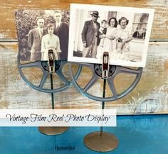 Old film reels become photo displays for vintage photos. www.homeroad.net