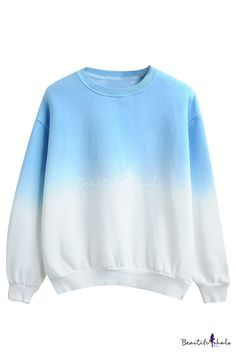 Ombre Round Neck Long Sleeve Pullover Sweatshirt - Beautifulhalo.com