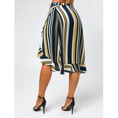 Stripe Print Midi Wrap Skirt with Ruffles - COLORMIX XL