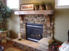 Custom Built Mantel Shelf with large corbels. Home Beautiful!