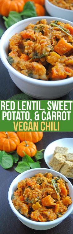 This vegan chili is hearty, comforting, and perfect for fall. Sweet potatoes and carrots add a natural sweetness, and red lentils pack protein! (Soup Recipes For Fall) Veggie Recipes, Whole Food Recipes, Vegetarian Recipes, Cooking Recipes, Healthy Recipes, Dinner Recipes, Chili Recipes, Lentil Recipes, Cooking Food