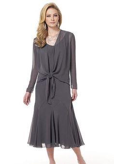 Mother Of The Bride Dresses Tea Length | Line Tea-Length Mother Of The Bride Dress with Sheer Overcoat - Mother ...