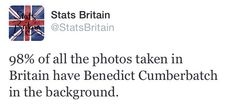 @StatsBritain. Cumberbatch photobomb. Am I right? I want him to photobomb my pictures. Unfortunately, I am stuck in America