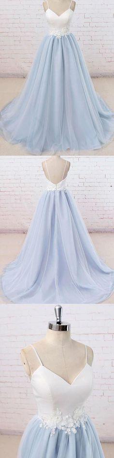 Prom Dresses 2018 #PromDresses2018, Backless Prom Dresses #BacklessPromDresses, Light Blue Prom Dresses #LightBluePromDresses, Blue Prom Dresses #BluePromDresses