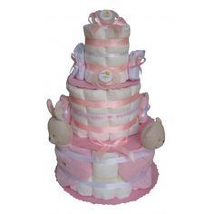 Gâteau de couches pour jumelles en couches Pampers avec des doudous J'aime Maman et J'aime Papa Cadeau Baby Shower, Children, Parfait, Diaper Cakes, Binoculars, Bebe, Softies, Mom, Gifts
