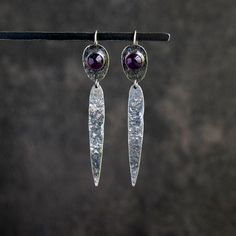 Sterling silver dangle earrings with amethyst gemstone Sterling Silver Dangle Earrings, Amethyst Stone, Absolutely Gorgeous, Belly Button Rings, Dangles, Gemstones, Jewellery, Detail, Gifts