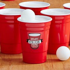 Beer Pong Cups (Set of 12) - A @pcgifts Exclusive! Stop wasting all your disposable red party cups on beer pong! This fun set includes 12 reusable melamine cups and 8 Ping-Pong balls—the only thing that you have to provide is the party and the beer.