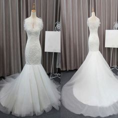 Gorgeous Elegant White Lace Mermaid Tulle Wedding Party Dresses, Bridal Gown, WD0072
