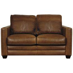 John Lewis Hudson Small Leather Sofa with Dark Legs