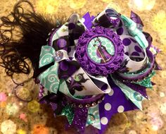 Boutique Handmade Maleficent Hair Bow Stacked OTT Sleeping Beauty on Etsy, $15.00