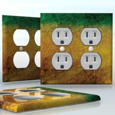 DIY Do It Yourself Home Decor - Easy to apply wall plate wraps | Golden Rust Green and yellow metal pattern wallplate skin sticker for 2 Gang Wall Socket Duplex Receptacle | On SALE now only $4.95