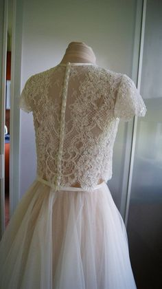 LILLY Wedding bolero of lace with beads and sequins top