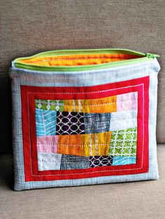 "zippy bags- love the improv patchwork. these could be made without the zipper and use the tape measure ""snap bags""   method instead."
