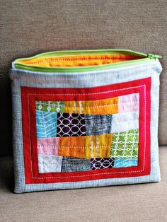 zippy bags- love the improv patchwork