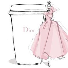 """2,426 Likes, 36 Comments - Megan Hess (@meganhess_official) on Instagram: """"I'm thinking a frothy powder pink Couture dress to glide into the week and one giant DIOR coffee!…"""""""