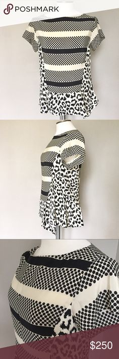 Thakoon addition black cream ruffle peplum silk 6 Mixed patterns with peplum hem and a ruffled extension on the front left side. Soft silk blouse in excellent condition. Thakoon Tops Blouses