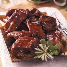 """Honey Garlic Ribs Recipe -When you want a more """"meaty"""" appetizer for your holiday buffet, reach for these finger-licking-good ribs!"""