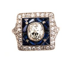 French Sapphire, Single Cut Diamond And Platinum Ring  c.1912-1920