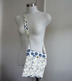 White and blue small cross body bag with cute by malmokkobags, $30.00