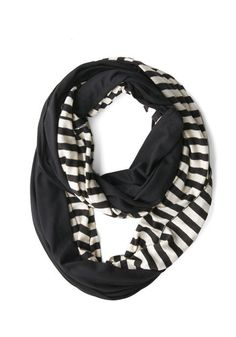 Peek of Pattern Circle Scarf Set in Black Stripes: Add some adorable oomph to your casual dress or your jeans 'n' tee by looping this set of two cotton infinity scarves around your neckline! This duo pairs solid…    #1960s #60s #Retro #Vintage #Black, #ModCloth, #PeekOfPatternCircleScarfSetInBlackStripes